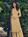 image of Designer Beige Embroidered Festive Wear Palazzo Dress In Cotton Fabric