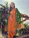 image of Designer Festive Wear Cotton Fabric Embroidered Palazzo Dress In Orange