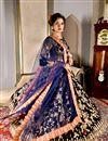 photo of Wedding Function Wear Velvet Fabric Lehenga Choli In Navy Blue