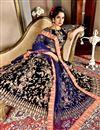 picture of Wedding Function Wear Velvet Fabric Lehenga Choli In Navy Blue