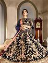 image of Wedding Wear Navy Blue Designer Velvet Fabric Lehenga Choli