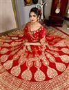 picture of Red Wedding Wear Designer Lehenga Choli In Velvet Fabric