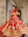 image of Red Wedding Wear Designer Lehenga Choli In Velvet Fabric