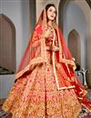 image of Art Silk Wedding Function Wear Red Designer Lehenga