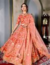 image of Art Silk Designer Wedding Wear Lehenga Choli In Red