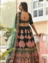 photo of Embroidered Velvet Fabric Bridal Lehenga In Dark Green Color with Designer Choli