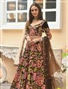 image of Brown Color Wedding Wear 3 Piece Lehenga In Velvet Fabric With Embroidery Work