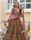 image of Velvet Fabric Designer Bridal Lehenga With Embroidery Work On Wine Color