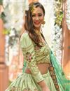 photo of Embroidered Light Olive Color Wedding Wear Lehenga In Art Silk Fabric With Designer Choli
