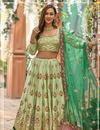 image of Embroidered Light Olive Color Wedding Wear Lehenga In Art Silk Fabric With Designer Choli