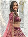 photo of Eid Special Art Silk Fabric Wedding Wear 3 Piece Lehenga In Wine Color With Embroidery Work