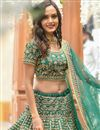 photo of Eid Special Teal Color Art Silk Fabric Reception Wear Lehenga Choli With Embroidery Work
