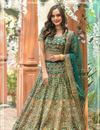 image of Eid Special Teal Color Art Silk Fabric Reception Wear Lehenga Choli With Embroidery Work
