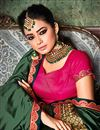 photo of Dark Green Party Style Designer Plain Saree In Art Silk With Heavy Boder