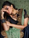 photo of Navy Blue Festive Wear Plain Saree In Art Silk With Fancy Boder Work