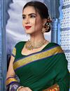 photo of Traditional Fancy Saree In Cotton Fabric Dark Green
