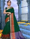 image of Traditional Fancy Saree In Cotton Fabric Dark Green