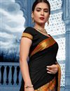 photo of Puja Wear Black Traditional Cotton Fabric Saree