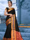 image of Puja Wear Black Traditional Cotton Fabric Saree