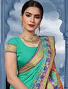 photo of Puja Wear Cyan Traditional Cotton Fabric Saree