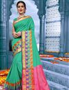 image of Puja Wear Cyan Traditional Cotton Fabric Saree