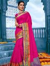 image of Cotton Fabric Traditional Temple Wear Fancy Saree In Rani Color