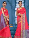 image of Traditional Fancy Saree In Salmon Color Cotton Fabric