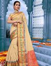 image of Temple Wear Cotton Fabric Traditional Fancy Saree In Cream