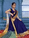 image of Puja Wear Cotton Fabric Traditional Navy Blue Saree