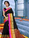 image of Traditional Puja Wear Cotton Fabric Black Saree