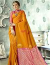 image of Weaving Work Wedding Wear Saree In Art Silk Fabric Orange Color