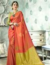 image of Designer Saree In Art Silk Fabric Peach Color With Weaving Work