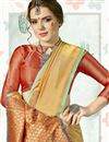 photo of Fancy Beige Designer Festive Wear Art Silk Saree With Weaving Work