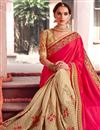 photo of Pink And Cream Color Designer Saree In Fancy Fabric With Embroidery Work