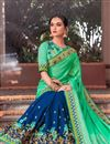photo of Designer Saree In Green And Blue Color Fancy Fabric With Blouse