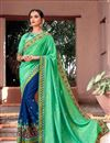 image of Designer Saree In Green And Blue Color Fancy Fabric With Blouse