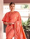 photo of Peach Color Fancy Fabric Designer Party Wear Saree With Embroidery Work