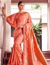 image of Peach Color Fancy Fabric Designer Party Wear Saree With Embroidery Work