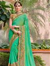 image of Green Color Festive Wear Embroidered Saree With Party Wear Blouse