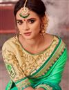 photo of Designer Saree In Green And Cream Color Fancy Fabric With Blouse