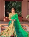 image of Designer Saree In Green And Cream Color Fancy Fabric With Blouse