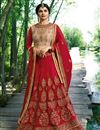 image of Prachi Desai Embroidered Red Reception Lehenga In Art Silk Fabric