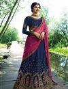 image of Wedding Special Prachi Desai Art Silk Wedding Wear 3 Piece Lehenga In Navy Blue