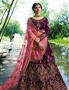 image of Wedding Special Prachi Desai Purple Art Silk Reception Wear Lehenga Choli