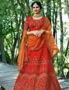 image of Prachi Desai Embroidery Work On Art Silk Designer Lehenga In Red