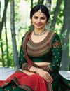 photo of Prachi Desai Dark Green Designer Bridal Lehenga With Embroidery Work