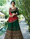 image of Prachi Desai Dark Green Designer Bridal Lehenga With Embroidery Work