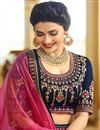 picture of Prachi Desai Function Wear Embroidered Art Silk Navy Blue Fancy Lehenga Choli