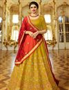 image of Prachi Desai Occasion Wear Mustard Designer Embroidered Lehenga In Art Silk