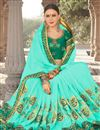 photo of Embroidery Work On Georgette And Art Silk Cyan Occasional Wear Saree